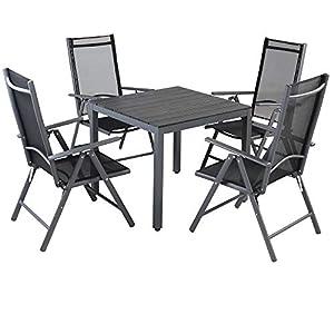 Casaria Aluminium Sitzgruppe 4 Klappstühle Hochlehner WPC Gartentisch 80x80 cm Sitzgarnitur Alu Gartenmöbel Set Grau