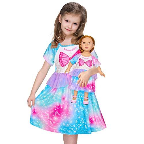 Girls Nightgown Matching Doll and Girls Mermaid Pajamas Night Dress Short Sleeve Girls Sleep Dress Nightgown Nightie Teal