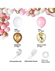 CHENX Pink Balloon Arch Garland Kit - 115 Pcs White Pink Gold and Gold Confetti Latex Balloons for Baby Shower Wedding Birthday Graduation Anniversary Bachelorette Party Background Decorations
