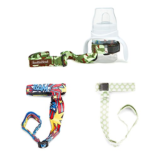 BooginHead Baby Toddler SippiGrip Sippy Cup Holder Strap, Camouflage, BAM! Blue, Polka Dot Green (Pack of 3)