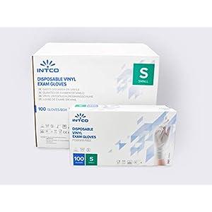 1A-Medicalcare 100 Guanti in Vinile S senza polvere senza lattice ipoallergenici certificati CE trasparenti monouso conforme alla norma EN455 e EN374