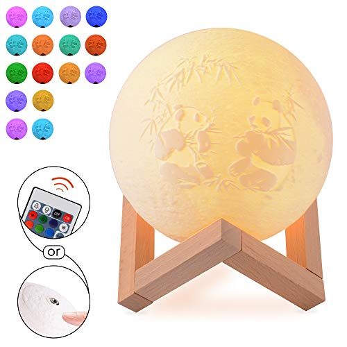 Lampara Picture Moon personalizada-Luz nocturna impresa en 3D impresa personalizada con soporte regulable Control tactil,luces decorativas de luz nocturna para ninos de la habitacion 8 colores (22 cm)
