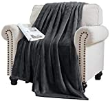 Elle Decor Solid Plush Oversized Throw Blanket - Silky Soft and Cozy Flannel Fleece, for Bed and Couch - Oversized Throw 60' X 70', Slate