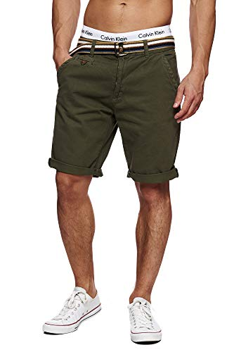 Indicode Herren Cuba Chino Shorts mit 5 Taschen inkl. Gürtel aus 100% Baumwolle | Kurze Hose Regular Fit Bermudas Sommerhose Herrenshorts Short Men Pants Chinohose für Männer Grün Army L