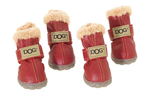 CHAPUIS SELLERIE Set de 4 Chaussures en PVC pour Chien Rouge Taille 4