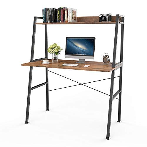 EUREKA ERGONOMIC Schreibtisch mit Ablage Computertisch Zwei Ebenen for Home Office &Gaming 110 * 58 * 133cm (Dunkelbraun)