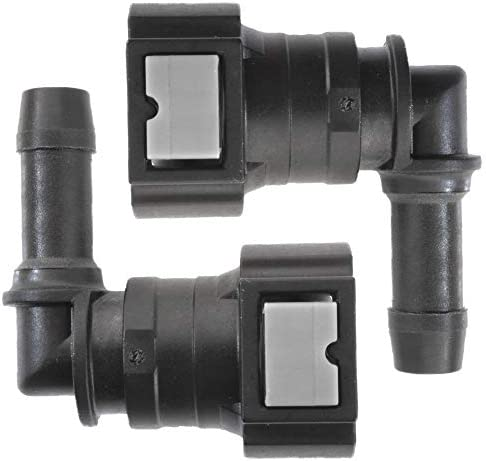 4LIFETIMELINES Fuel Line Quick Connect 90 Degree Push On Single Barb Adapter for 3 8 in Steel product image
