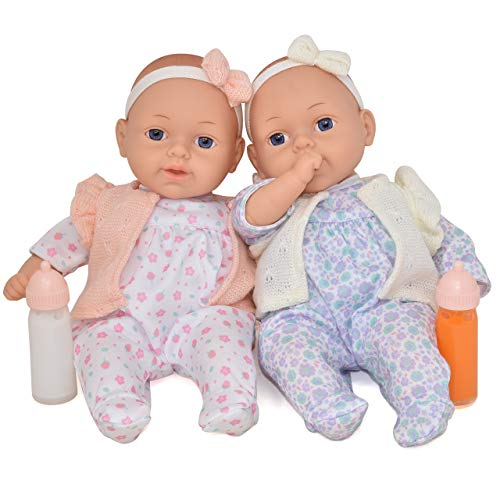 Twin Baby Dolls, 13 Inch Soft Body Baby Dolls with Magic Disappearing Milk Bottle and Juice Bottle