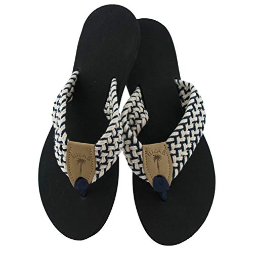 Eliza B Newport Macrame Navy-Natural Sandal with Black Sole (11 US M Women)