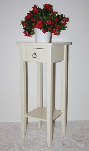 Casa Massivholz Beistelltisch Blumentisch Telefontisch 80 Creme lackiert