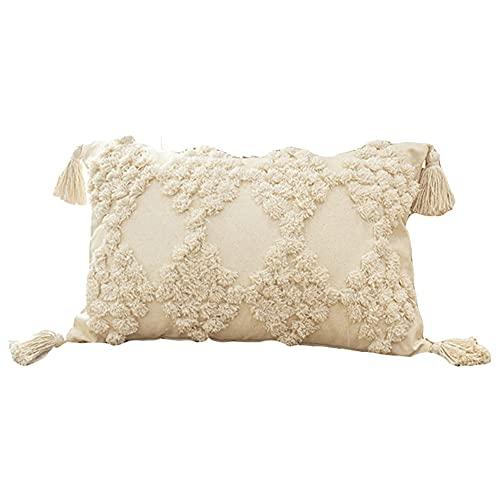 Joielavie - Funda de cojín de algodón, color beige, geométrico, pompón de pavita flexible, rectangular, funda de almohada nórdica, decoración para sofá, cama, casa, sofá o sofá, 30 x 50 cm