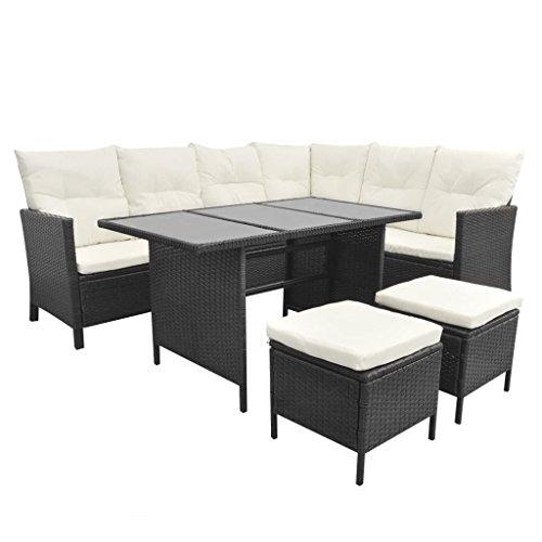 Festnight Polyrattan Lounge Set Loungemöbel Loungeset Gartenmöbel Schwarz