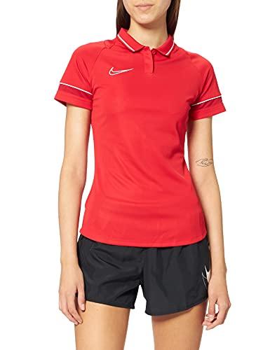 NIKE Dri-FIT Academy Camisa Polo, Mujer, Universidad Rojo/Blanco/Gimnasio Rojo/Blanco, M