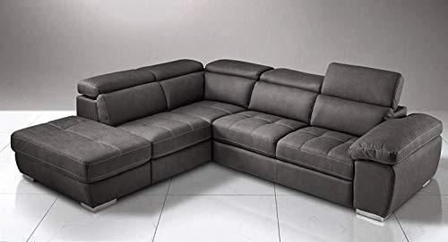 Dafne Italian Design Sofá cama esquinero de 3 plazas con chaise longue a la izquierda. Piel sintética efecto nobuk negro (285 x 245 x 97 cm)