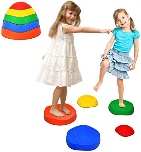 GYMAX Kids Balance Stones, Stepping Stones with Non-slip Silicone Bottom, Promote Coordination, Balance and Strength, 5-Pieces Set Hilltops River Stones