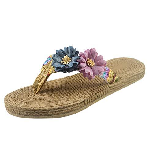 Pantofole Donna Zeppa Infradito Estive con Tacco Sandali Piattaforma Casual Donna Eleganti Slip Scarpe da Spiaggia Mare Flip Flops (A15-Gray,39)