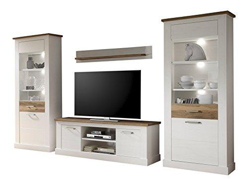 trendteam Wohnzimmer 4-teilige Set Kombination Toronto, 340 x 210 x 52 cm in Korpus Pinie Weiß, Absetzung Nussbaum Satin (Nb.) im Landhausstil