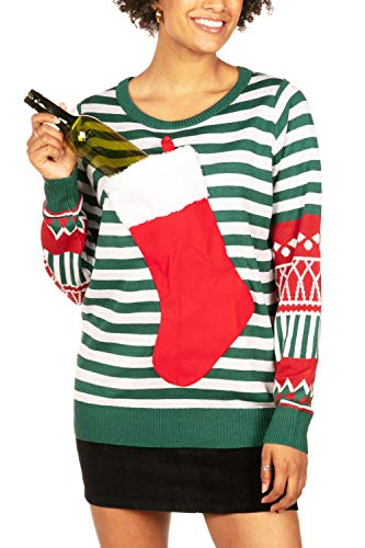Tipsy Elves Tacky Ugly Christmas Sweater for Women with Attached Stocking from Size: Large
