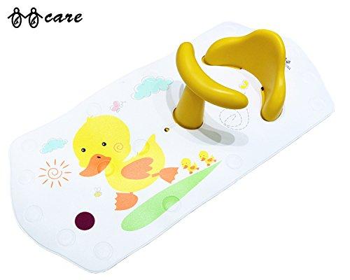 BBCare Siège de bain de sécurité antidérapant pour bébé et tapis de bain extra long avec changement de couleur à chaud (Jaune_Canard)