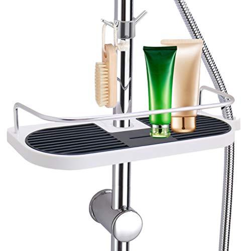 Leefe Étagère de douche aluminium Organiseur avec 2 crochets support pour savon et flacons, sans perçage murale Rail 19 mm – 25 mm