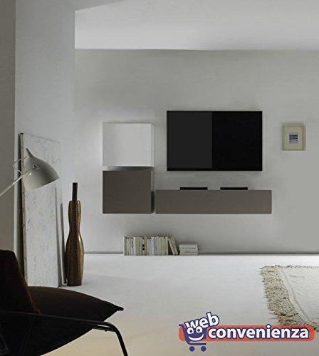 Web Convenienza Cube 14 A Biaco Lucido e Beige Opaco Parete Attrezzata Soggiorno Moderna Porta TV
