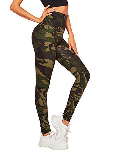 SOLY HUX Damen Sport Camouflage Leggings Camo Leggins Bunt Sporthose Capris Jogger Fitnesshose Sweathose Leggins Farbe #8 XL
