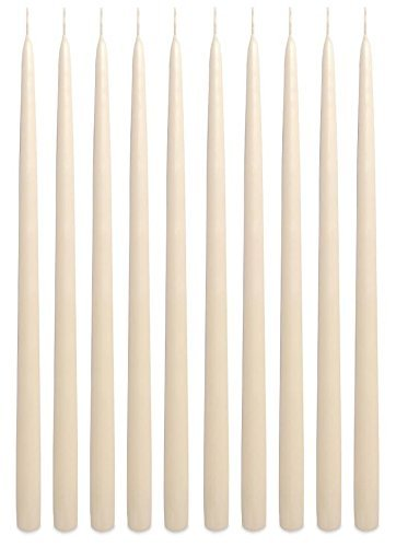 Ivory Taper Candles 15 Inch Extra Tall Unscented Premium Quality Dripless Smokeless Hand-Dipped Made in USA