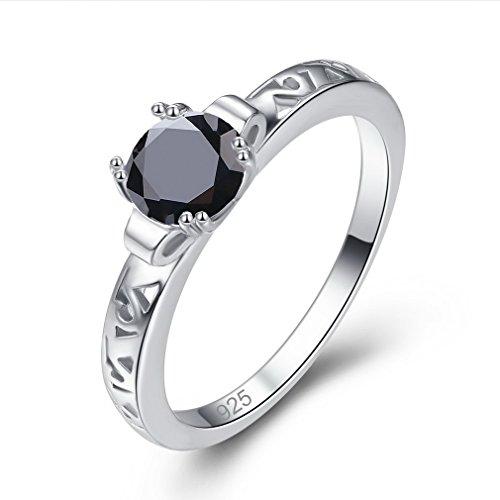YAZILIND Ronda Anillo de Diamantes de imitación Negro Hueco Forma de Platino Plateado Promesa Compromiso joyería para Mujer Talla 12