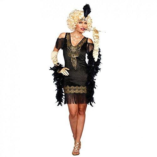DreamGirl Disfraz de Charleston para Mujer Vestido Negro/Dorado, años 20, Fiesta de Disfraces (XL)