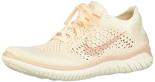 Nike Women's Free Rn Flyknit 2018 Competition Running Shoes, Yellow (Guava Ice/Particle Beige-Sail-Rust Pink 802), 3.5 UK