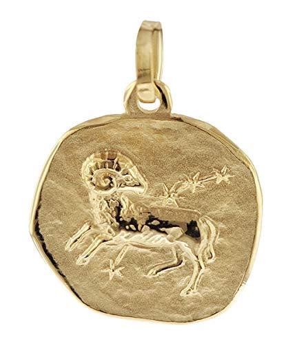 trendor Sternzeichen-Anhänger Widder 585 Gold 16 mm Anhänger Tierkreiszeichen für Damen, Herren und Kinder, Echtgold, Anhänger Gold, 08961