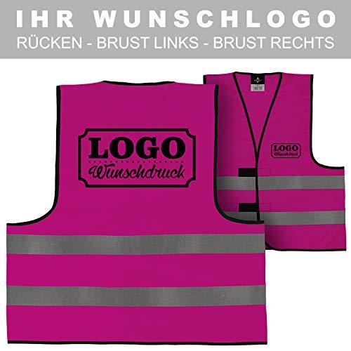 Warnweste Signalweste Sicherheitsweste bedruckt mit Wunschlogo Name Text Motiv PINK Rücken + linke Brust