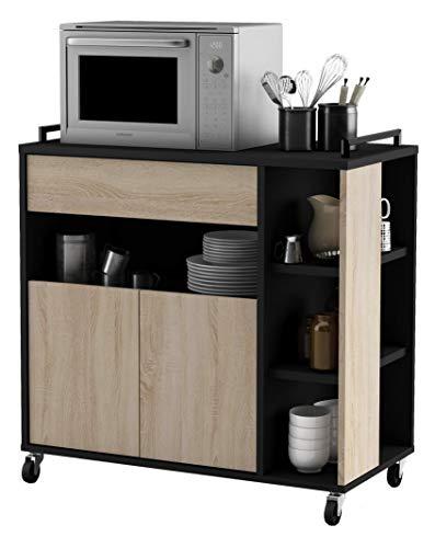 habeig Küchenwagen Eiche #357283 mit schwarz Küchentrolley Schublade Holz Rollen