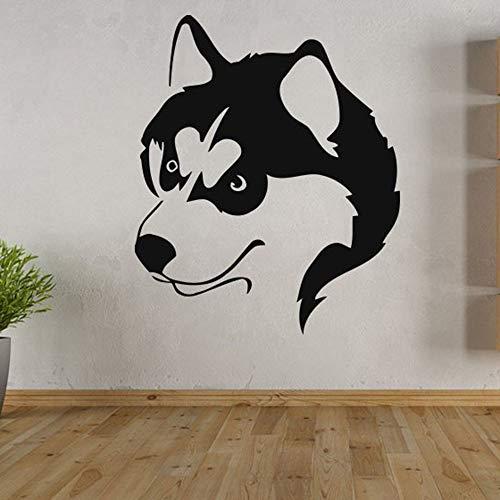 HGFDHG Adesivi murali Animali Cucciolo di Cane Art Adesivi murali in Vinile Soggiorno Cane Husky Pet Decorazione della casa Camera da Letto Modello