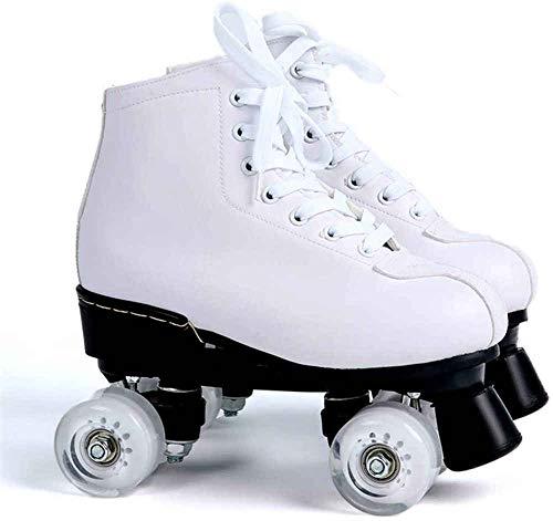 SNFHL Verstellbare High-Top-Rollschuhe aus Leder für Rollschuhe für Erwachsene im Innen- und Außenbereich,UK 6.5/EU 39 White Wheel
