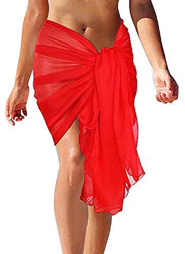 Lovelegis Pareo Donna Lungo Mare - Gonna - Copricostume - Spiaggia - Piscina - Ragazza - Multiuso - 50 cm - Colore Rosso