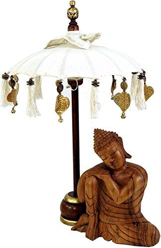 Guru-Shop Ceremoniële Paraplu, Aziatische Decoratieve Paraplu Klein - Wit, 68x40 cm, Paraplu`s