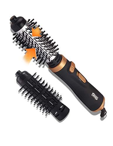 DSP Rotierende Warmluftbürste Für langes Haar Heißluft-Styler Ionen Haartrockner Drehung Heißluft Styler Multifundamentale Ionen Haarbürste, 2 Bürstenköpfe, 900W