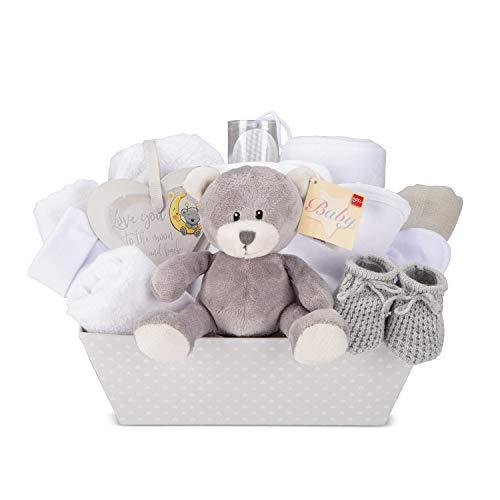 Nueva canasta de regalo para bebé unisex - Con manta de lana, toalla con capucha, ropa de bebé, 2 muselina para bebé y oso de peluche