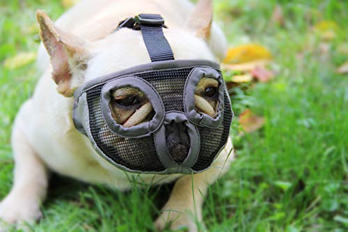REAL PET Adjustable Short Snout Dog Muzzles with Eyehole Breathable Mesh Dog Muzzle for Bulldog and Short-snouted Breeds to Anti-Biting, Barking and Licking Chewing Barking Training Dog Mask(Grey)