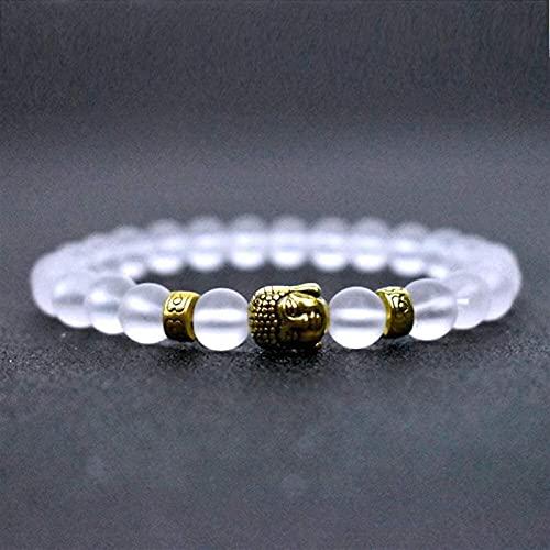 Pulseras con cuentas de piedras preciosas premium Pulsera de piedra Mujer, 7 Chakra Piedra natural Bangle Brazalete de cristal blanco Pulsera Elástica Yoga Buda de oro Lucky Moda Joyería para damas Br