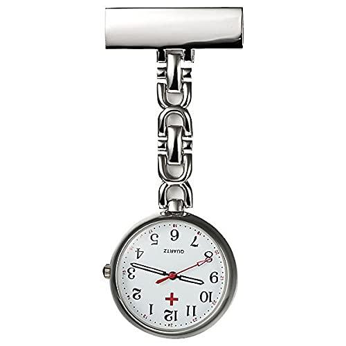 YYMY Médico Reloj de Broche,Mesa de medición de Enfermera de Noche Transparente, Movimiento de Cuarzo Doctor-Silver 3