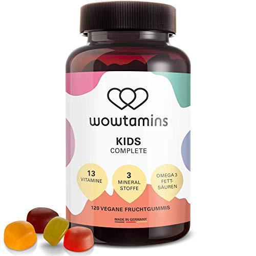wowtamins KIDS Complete leckere Multivitamin-Fruchtgummis für Kinder - mit 13 Vitaminen, Omega 3 Fettsäuren & Mineralstoffen - ab 2 Jahren (mit Zucker, 1er Pack)