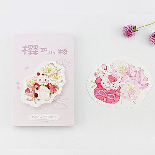 ダイカットポストカード型抜き30枚セット(桜和小物)おしゃれかわいいおもしろグリーティングカードメッセージカード
