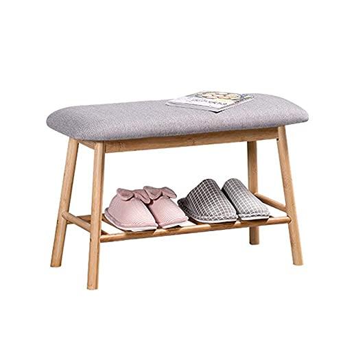 Banco de almacenamiento de zapatos Zapatero de bambú natural Entrada Almacenamiento de zapatos Estante del hogar Banco de zapatos con cojín Pasillo de 2 colores Dormitorio Muebles de sala de estar (C