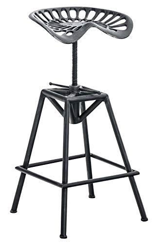 CLP Tabouret de Bar Industriel Samson – Chaise de Bar en Métal Réglable en Hauteur 62 – 82 cm – Tabouret Robuste Assise Ergonomique avec Repose-Pied – Couleur au Choix: Argent Antique