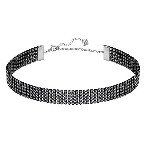 Swarovski Fit Necklace, Black, Ruthenium plating