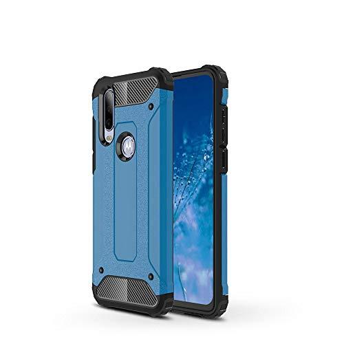 LAGUI Adatto per Cover Motorola One Action, Robusto Resistente Elegante TPU/PC Custodia Doppio Strato Protettiva Antiurto. Blu