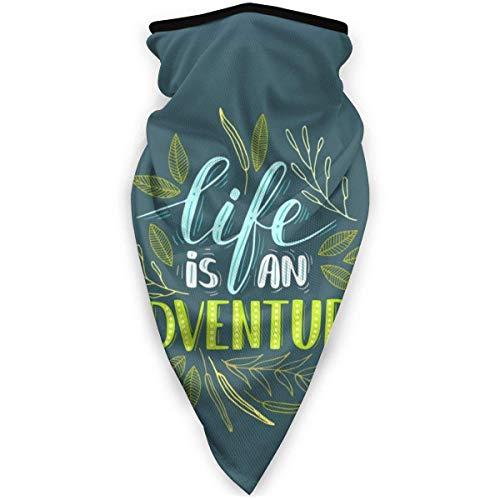 yyndw Neck Warmer La Vie Est Une Aventure Camping 24X51Cm Travail Head Wrap Warmer Sports Neck Gaiter Headwear Léger Coloré Extérieur Respirant Bandanas Polyvalent Hiver