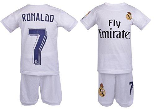 Soccer PJs Cristiano Ronaldo #7 Jersey Style PajamaReal PJ Madrid Ronaldo 7 Soccer Jersey & Shorts Kids 100% Cotton Pyjama Sleepwear Set (4 Years, Short Sleeve) White